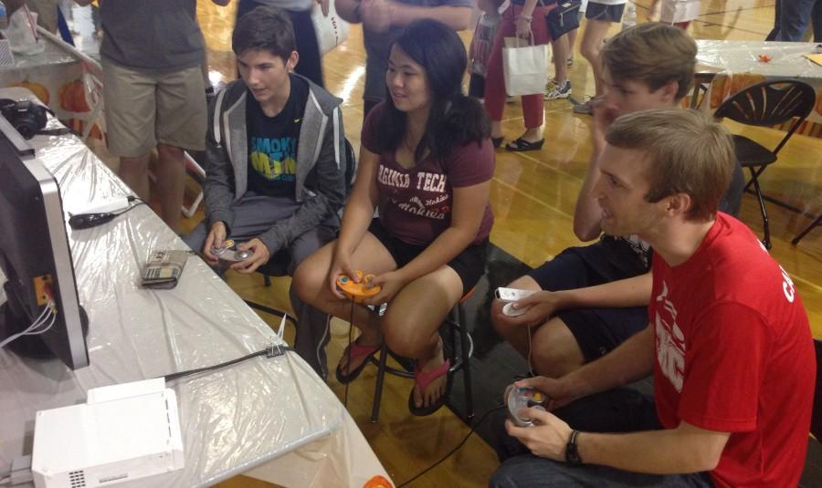 Mr. Willis competes against his students in Super Smash Brothers
