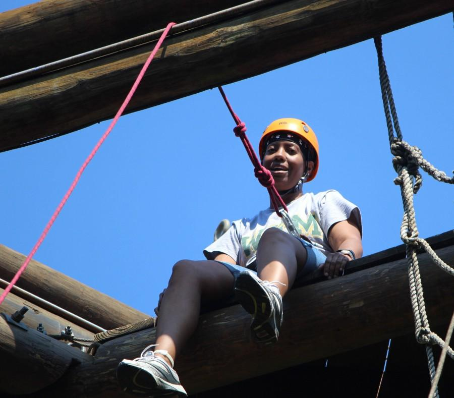 Ms. Smith conquers the Alpine Tower at the Leadership Retreat