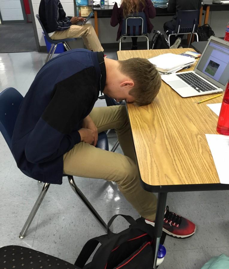 Sophomore Jasper Smith contemplates exams