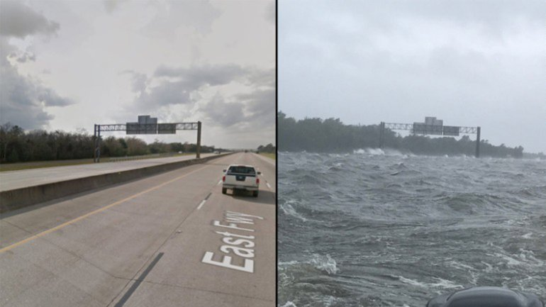 The excessive rain from Hurricane Harvey turned I-10 into an ocean with waves as tall as four feet.  Photo Credit:  cnnwire