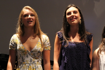 Grace Fluharty (left) and Elena Duncan (right) perform the Cape Henry Alma Mater at the 2018 Convocation. Photo Credit: Mr. Daniel Burke