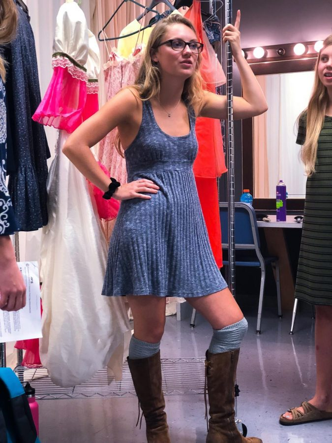 Grace Fluharty ('19) preparing for the big production of this year's haunted house.