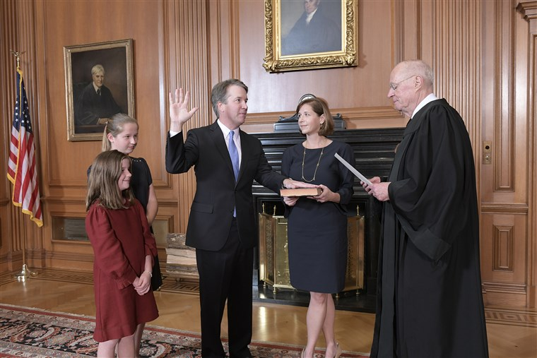 Photo+%26+Caption+Credit%3A++NBC+News+%22Retired+Justice+Anthony+M.+Kennedy+administers+the+Judicial+Oath+to+Judge+Brett+M.+Kavanaugh+in+the+Justices%27+Conference+Room%2C+Supreme+Court+Building.+Mrs.+Ashley+Kavanaugh+holds+the+Bible.+Fred+Schilling+%2F+Collection+of+the+Supreme+Court+of+the+United+States