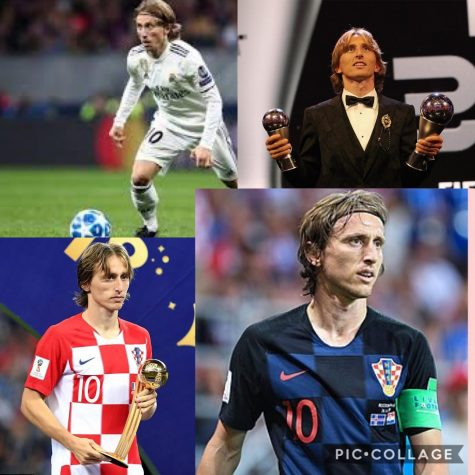 Luka Modric, current FIFA Player of the Year, is shown above in action and receiving his awards.