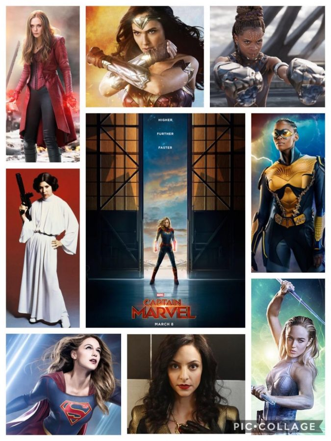 From+Marvel+to+DC+to+Star+Wars%2C+female+superheroes+are+becoming+more+and+more+prominent+throughout+the+entertainment+industry.+Photo+Credits%3A+Marvel+Studios%2C+The+CW%2C+RealStyle+Network%2C+BBC