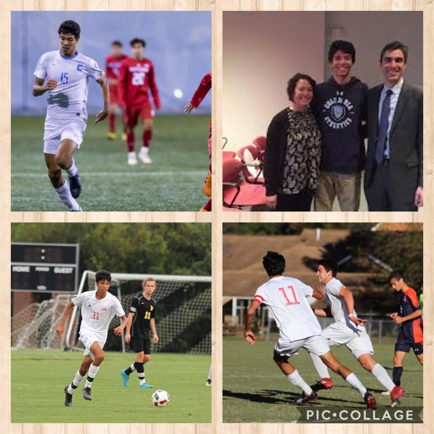 Top left - Gunbeyi chasing down a ball against Rutgers  Top right - Sebastian with his parents after signing for Columbia  Bottom left - Sebastian in his final season as a dolphin against Steward School  Bottom right - Sebastian celebrates with Bryce Harrison ('18) in the TCIS Finals
