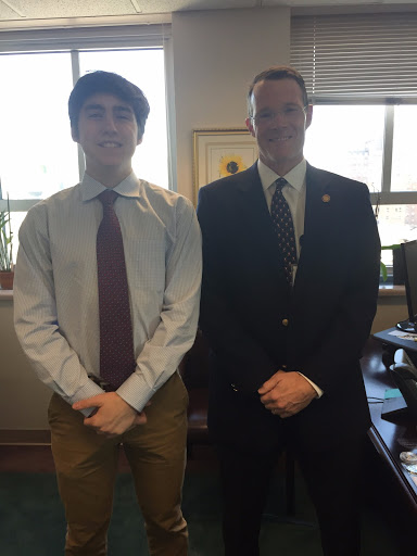 Barrett Nickles 20' (left) drove up to Richmond for Job Shadow day to visit the Commissioner of the Virginia Department of Behavioral Health and Development Services, Dr. Hughes Melton (right), and spent the day listening in on various meetings, witnessing interviews, and observing the overall functions of a government facility.