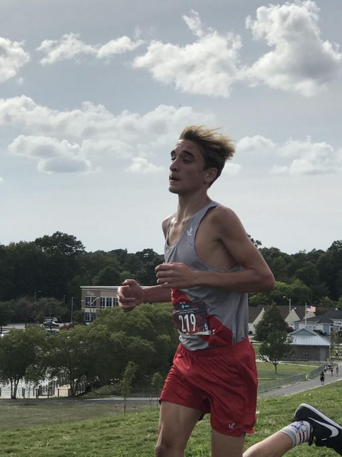 Caption: Zach ran with the rest of the Cross Country team on Wednesday, September 4, 2019, at Mount Trashmore, finishing the race in 4th place.