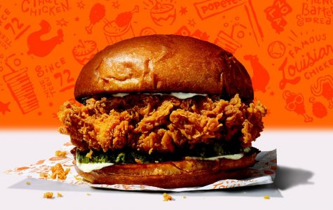 This picture is for an ad for the new Popeye's chicken sandwich. It was made by Popeyes Famous Fried Chicken & Biscuits. It is displaying what the new Popeye's chicken sandwich looks like when it is ordered.