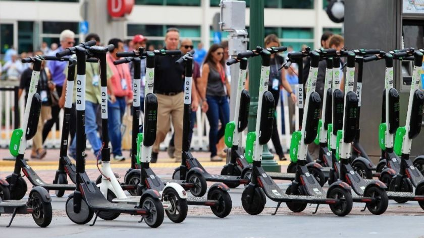 Bird Scooters have populated on the corners of streets at the Virginia Beach Oceanfront.