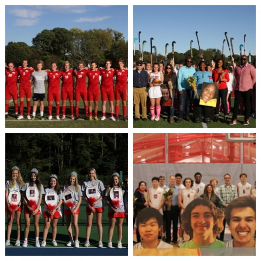 RED & WHITE OUT - The Boys Varsity soccer team, Girls Varsity tennis, Girls Varsity Field Hockey, and Boys Varsity Volleyball teams' seniors were a sea of red and white. Photo Credits:  Mr. Daniel Burke