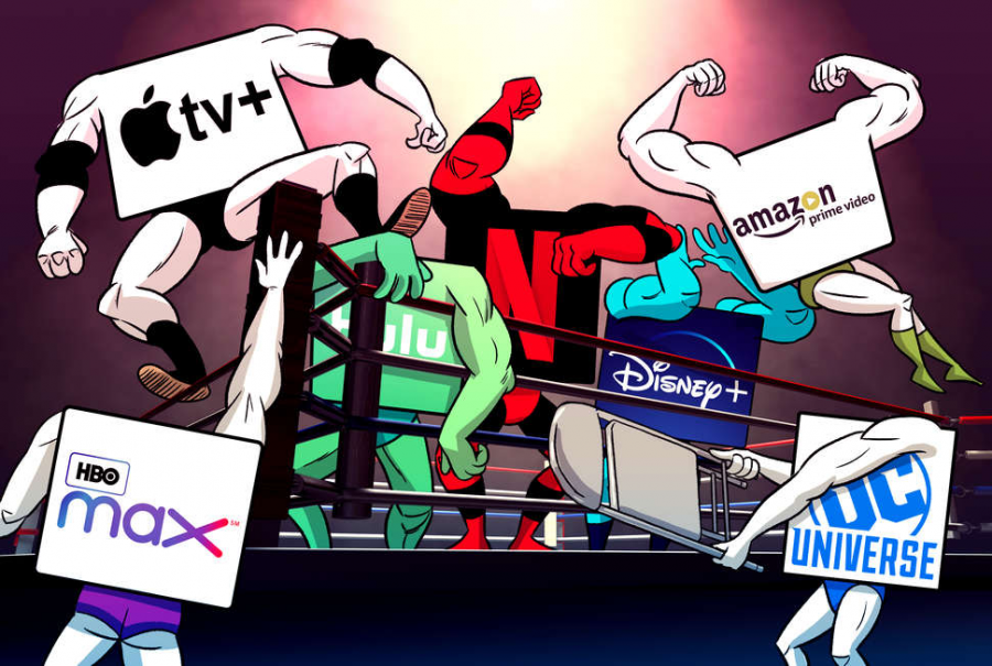 This cartoon perfectly illustrates how each streaming service is battling it out to gain more subscribers and come out on top to be the most successful.  Photo Credit: Jason Hoffman/Thrillist