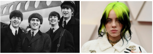 Coming from different timeframes, the Beatles and Billie Eilish both have led massively successful music careers, inspiring millions of listeners in their respective generations. (L: Evening Standard & Getty Images | R: Magdalena Wosinska, NYT & Redux)